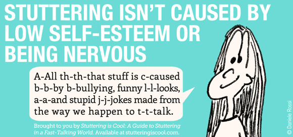 A headline reads, stuttering isn't caused by low self-esteem or being nervous. A cartoon woman is stuttering All that stuff is caused by bullying, funny looks and stupid jokes made from the way we talk.