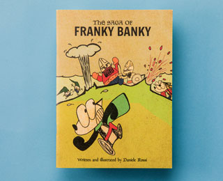 Book cover with an illustration of Franky Banky being chased by Vikings