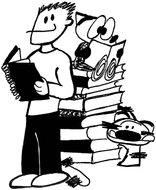 An illustration of the author standing next to a pile of sketchbooks. Franky Banky is sitting on top reading one of the books. Ti-Ger is sneaking around the bottom.