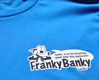 Close up of a t-shirt with a logo on it.